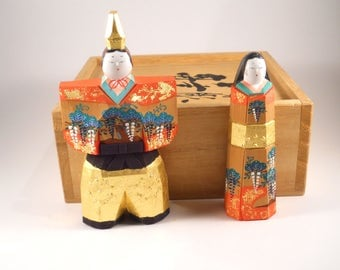 Vintage Japanese Wooden Storage Box Figure of Man Woman japanese Kokeshi Wood