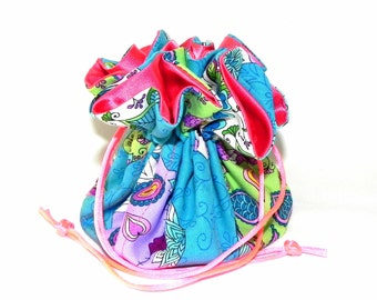 Drawstring Jewelry Travel Bag - Jewelry organizer - Sugar skulls in Turquoise blue, purple, green and coral