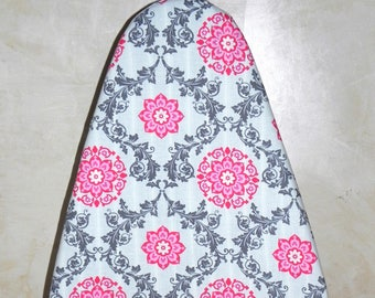 Tabletop Ironing Board Cover - Floral in grey and pink -  Laundry and Housewares