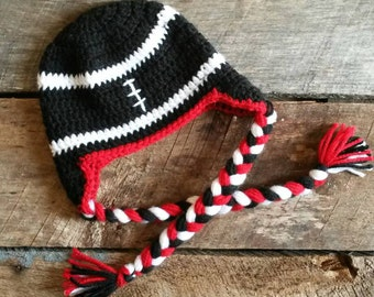 READY TO SHIP! -- Infant Football Earflap Hat