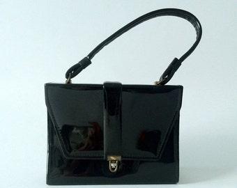 20% OFF Vintage Purse, Vintage Handbag, 1950s Black Purse, 1950s Handbag, Patent Leather Purse, 50s Black Bag, Square Purse, 50s Leather Bag