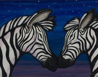 Serengeti Kiss--Zebra Painting 9x12 Original Acrylic