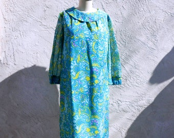 60s Psychedelic Mod Dress, Turquoise Cotton Voile Shift, Long Sleeve Dress