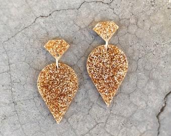 Light Gold Glitter laser cut acrylic earrings - Acrylic glitter drop earrings - 'Queen Jewels' - Hypoallergenic - Made in Australia