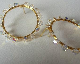 Swarovski Crystal  Gold  Wrapped Hoops