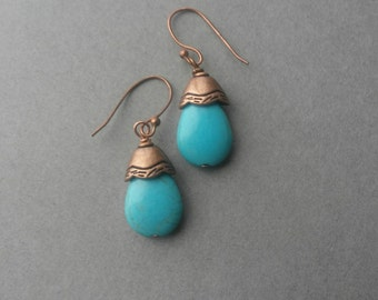 Copper  Blue Turquoise Teardrop Earrings Drop Earrings by LucidArts for Etsy Boho Beachy December Birthstone Autumn Jewelry