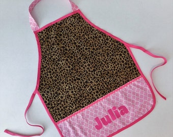 Giraffes and leopard personalized appliqued pretend play apron smock for toys, cooking tools, art supplies - for children 12 months- 6, 7-10