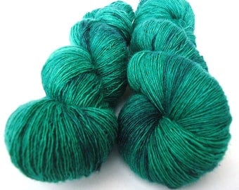 Hand dyed Merino Silk Lace yarn hand painted: Deep mountain lake
