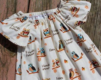 SALE - Girl's Infants Toddlers Harvest Owls Peasant Dress