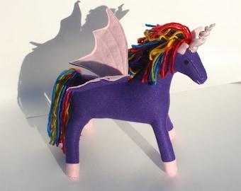 Rainbow Flyer Pegacorn Fantasy Plush ~ Purple and Pink, Handcrafted Eco Friendly Stuffed Animal Toy, Pegasus Unicorn Plushie, Flying Unicorn