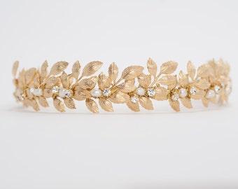 gold leaves headband, wedding crown, wedding headpiece with leaves and pearls, bridal tiara - HP17610