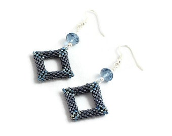 Blue Beaded Geometric Earrings - Handmade Seed Bead Jewelry - Dangle Crystal Earrings - Geometric Jewelry