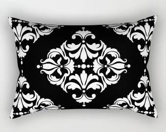 Diamond Damask Print Rectangular Pillow, 16 Color Options, Lumbar pillow, Modern Bedding, Victorian Bed, Geometric, Minimalist, Black White