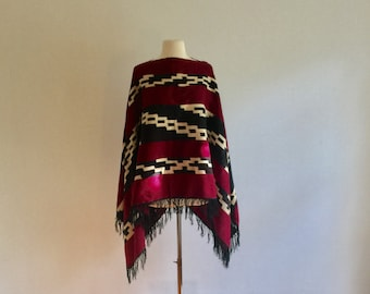 Vintage 70s aztec wool fringed poncho - 1970s burgandy navy ivory graphic poncho - one size