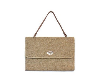 50% OFF Sale 1960's 1970's Top Handle Green Carpet Bag Laptop Case