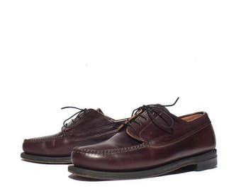 SALE 11 EE | Vintage L.L. Bean Shoes Men's Cordovan Moc Toe Oxfords Dress Shoes Loafer