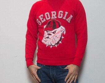 SALE SML | Vintage Georgia Bull Dogs Red Crewneck Sweatshirt
