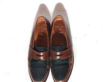 SALE 11 D | Men's Polo Ralph Lauren Black Watch Plaid Brown Leather Loafers Bench Made in England