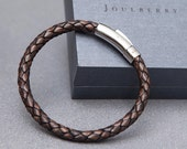 Mocha Braided Mens Leather Bracelet