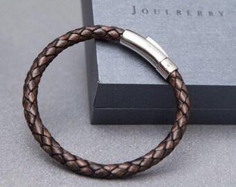 Mocha Braided Mens Leather Bracelet