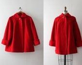 vintage 1940s coat // 40s short red swing coat
