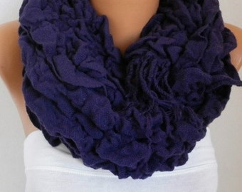 ON SALE --- Pale Purple Knitted Ruffle Shawl,Fall Winter Shirred Scarf, Cowl Scarf Gift Ideas For Her Women's Fashion Accessories, Christmas