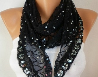 ON SALE --- Black Lace Sequin Scarf,evening wrap,  Cowl Scarf  Bridesmaid Gifts Bridal Accessories Gift Ideas For Her Women's Fashion Access