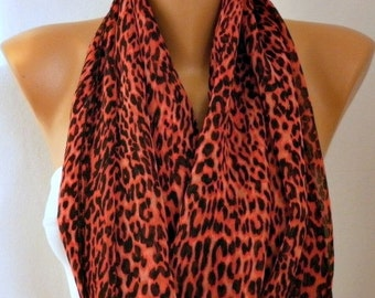 ON SALE --- ON Sale - Red Black Leopard Print Infinity Scarf Christmas Gift Circle Loop Scarf Cowl Scarf Gift Ideas For Her Women Fashion Ac