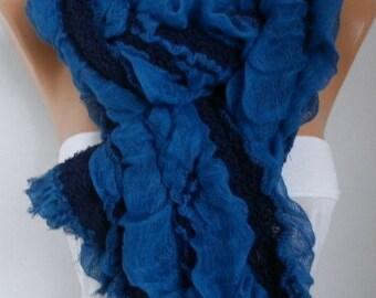 Valentines Gift Blue Black Cotton Unisex Scarf Winter Scarf Men Scarf Cowl Scarf Oversize Shawl Gift Ideas For Her Women Fashion Accessories