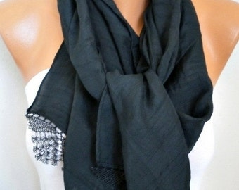 ON SALE --- Black Scarf Shawl, Summer,Bridal Scarf, Wedding Scarf Cowl Bridesmaid Gift Bridal Accessories Gift Ideas For Her Women Fashion A