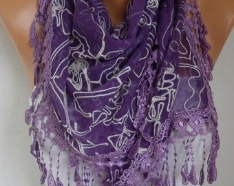 ON SALE --- Purple Embroidered Scarf,Fall Winter Accessories, Cotton, Cowl Scarf, Gift Ideas For Her, Women Fashion Accessories Scarves,Chri