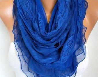 ON SALE --- Royal Blue Lace Scarf, Wedding Shawl , Hanukkah Gift, Bridal Scarf, Bridesmaid Gifts, Gift Ideas For Her, Women Fashion Accessor