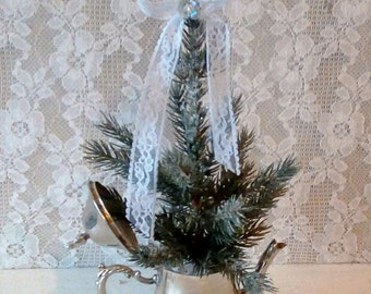 Christmas decor, Miniature Table Top Tree, Tree in silver container, Vintage, French Farmhouse, Shabby Cottage Christmas