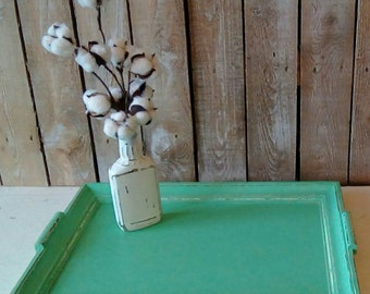 Green Tray, Wooden Tray, Up cycled Painted Tray, Vintage Shabby Cottage, Modern Farmhouse