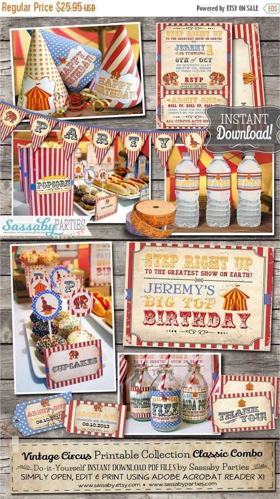ON SALE Vintage Circus Party Collection - INSTANT Download - Editable & Printable Kids Birthday Party Decorations by Sassaby Parties