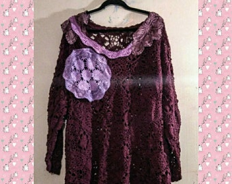 Burgundy Wine Sweater Crochet Lace Art Tunic Top 2X 3x 4x Bohemian Shabby Chic Doilies Boho Victorian Romantic Vintage Hand Dyed Upcycled