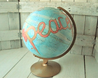 "Vintage world globe embellished peace message Repogle 12"" diameter metal stand- free shipping US"