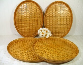 Bamboo Serving Trays Vintage Woven Rattan Set of 4 Large Oval Handmade Sturdy Bamboo Frame & Wicker Trays - Waitstaff Bed Vanity Decor Trays