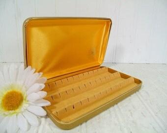 Sparkling Glitter Gold Vinyl Clam Shell Travel Jewelry Case - Vintage Atomic Design Pierced Earrings Box - Gold Satin & Velveteen Lining