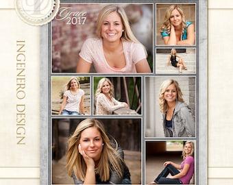 Graduation Senior Collage, Photoshop Template, Photo Collage, Grad Collage, Digital Photo Collage, Senior - Grace 11x14 Collage