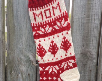 Handknit Christmas Stocking, mom, wool, knit, handmade