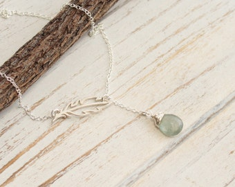 Sterling Silver Feather and Birthstone Lariat Necklace  -- Choose Your Stone