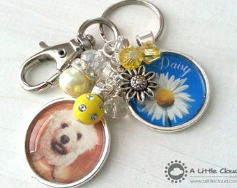 Pet Loss Custom Keychain, Beaded, Charmed, Personalized, Pet owner, Dog Owner