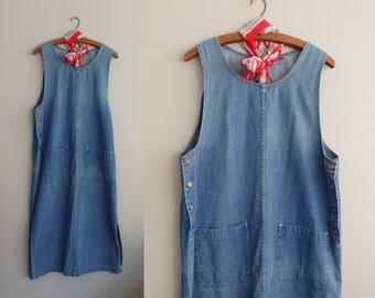 Denim jumper dress  Denim Jean Overall jumper 90s Grunge maxi dress  Women's  Size L