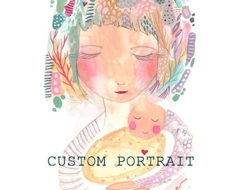 Custom portrait mother and baby art commission custom art personalised portrait