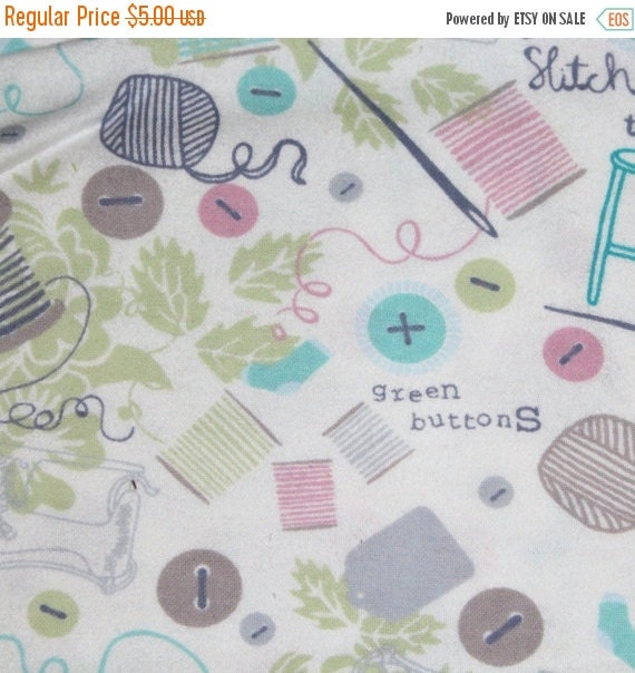 Sewing Notions Flannel Fabric for Jo Ann Fabrics 100% Cotton Quilt Sewing Craft Tossed Sewing Notions Flannel Fabric on White