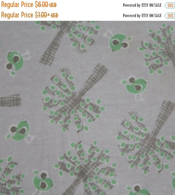 Flannel fabric,Tree flannel fabric,Bird flannel fabric,Mint green and gray,100% cotton flannel,Quilt flannel,Craft flannel,By the YARD
