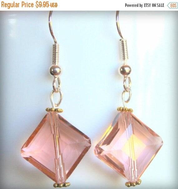 Rose Gold Earrings,Apricot Earrings,Diamond Shape Earrings,Glass Earrings,Glass Crystal Earrings,Sensitive Ears Earrings,Gift for Her