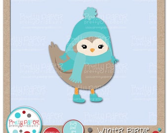 Winter Birdie Cutting Files & Clip Art - Instant Download
