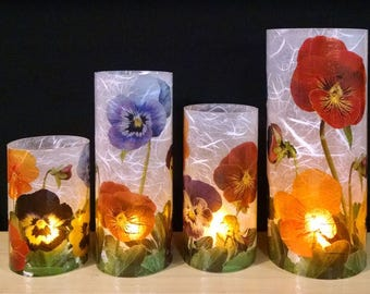 Pansies Extra Large candle holder with a free Electric Tea Light.  Table centerpiece.  Indoor light.  Outdoor lighting.  Home Decor.  LED.